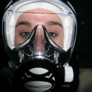trying out the full face mask, bill jackson shop for adventure